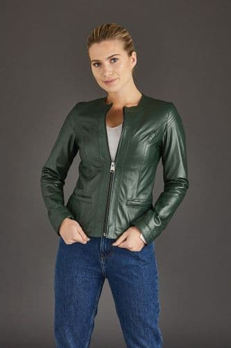Green Leather Jackets Ladies :Chenel
